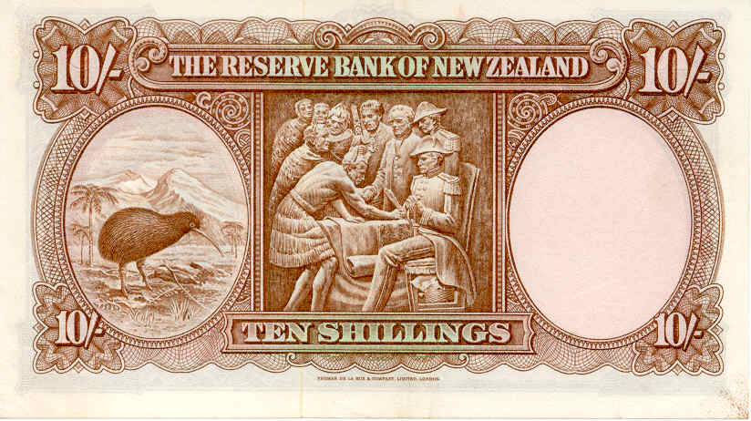 10 shillings - Brown Kiwi